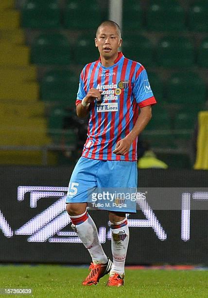 Takayuki Morimoto of Catania in action during the Serie A match between US Citta di Palermo and Calcio Catania at Stadio Renzo Barbera on November 24...