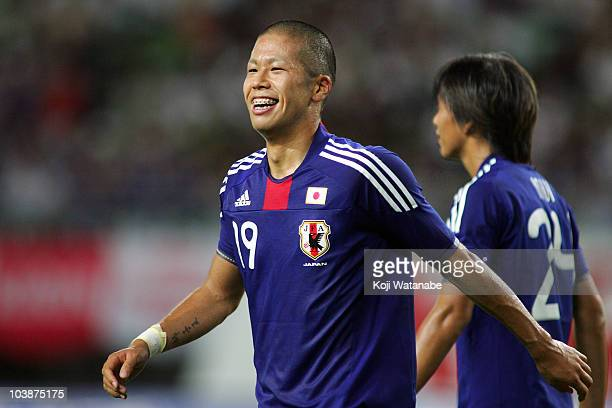 Takayuki Morimoto of Japan celebrates the second goal during the international friendly match between Japan and Guatemala at Nagai Stadium on...