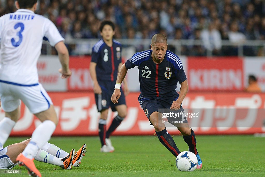 Takayuki Morimoto of Japan in action during the international friendly match between Japan and Azerbaijan at Ecopa Stadium on May 23, 2012 in Kakegawa, Japan.