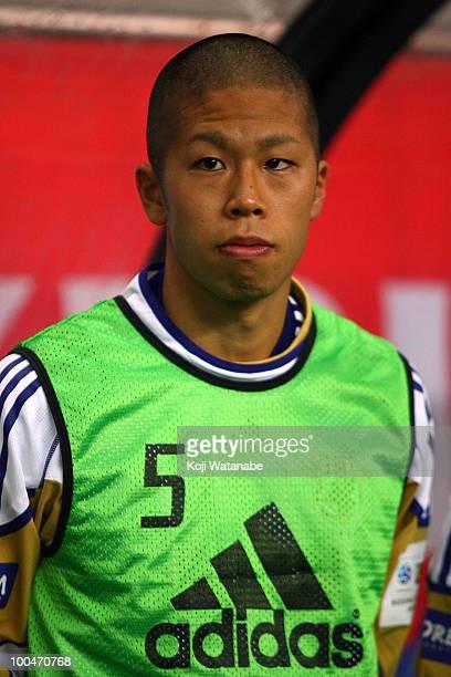 Takayuki Morimoto of Japan looks on during the international friendly match between Japan and South Korea at Saitama Stadium on May 24 2010 in...