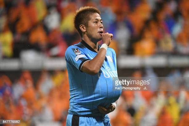 Takayuki Morimoto of Kawasaki Frontale celebrates scoring his side's third goal during the J.League J1 match between Shimizu S-Pulse and Kawasaki...
