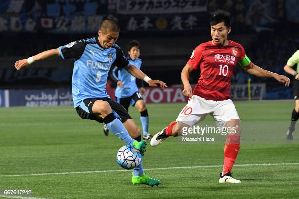 Takayuki Morimoto of Kawasaki Frontale in action during the AFC Champions League Group G match between Kawasaki Frontale and Guangzhou Evergrande at...