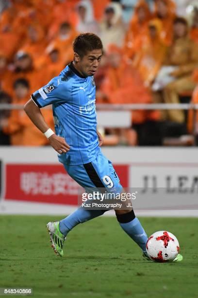 Takayuki Morimoto of Kawasaki Frontale in action during the JLeague J1 match between Shimizu SPulse and Kawasaki Frontale at IAI Stadium Nihondaira...