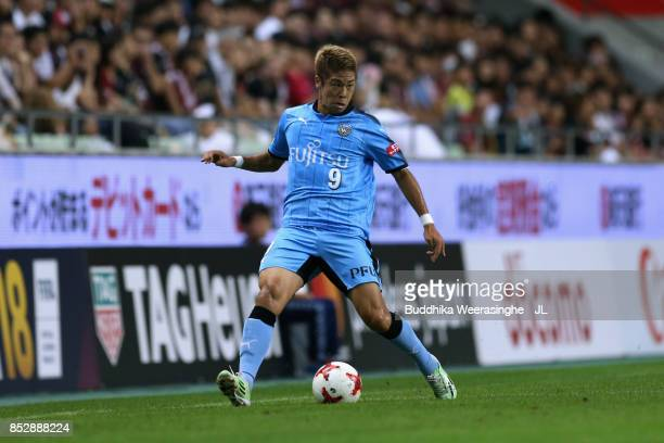 Takayuki Morimoto of Kawasaki Frontale in action during the JLeague J1 match between Vissel Kobe and Kawasaki Frontale at Noevir Stadium Kobe on...