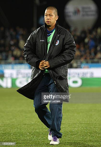 Takayuki Morimoto of Novara Calcio looks on before the Serie A match between Novara Calcio and AC Siena at Silvio Piola Stadium on October 26 2011 in...