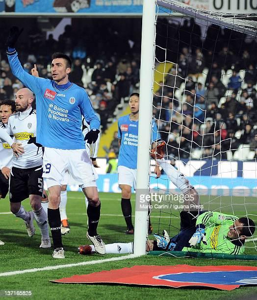 Takayuki Morimoto of Novara Calcio scores the goal during the Serie A match between AC Cesena and Novara Calcio at Dino Manuzzi Stadium on January 15...