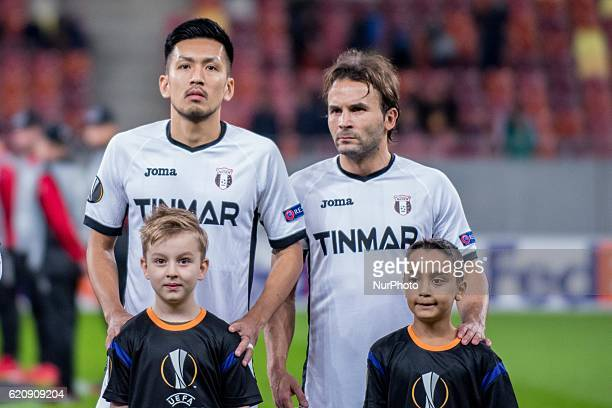 Takayuki Seto of FC Astra Giurgiu L and Felipe Teixeira of FC Astra Giurgiu during the UEFA Europa League 20162017 Group E game between FC Astra...