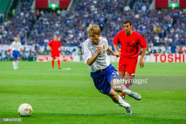 Takayuki Suzuki of Japan during the World Cup match between Japan and Belgium in Saitama Stadium in Saitama Japan on June 4th 2002