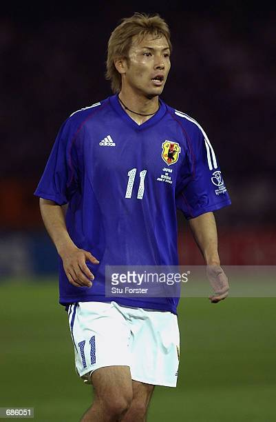 Takayuki Suzuki of Japan in action during the FIFA World Cup Finals 2002 Group H match between Japan and Russia played at the International Stadium...
