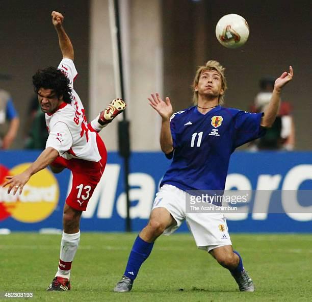 Takayuki Suzuki of Japan in action during the FIFA World Cup Korea/Japan Group H match between Tunisia and Japan at Nagai Stadium on June 14 2002 in...