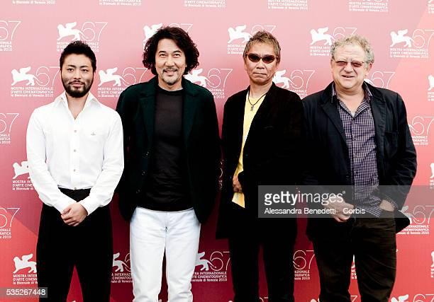 Takayuki Yamada Koji Yamada Takashi Miike and Jeremy Thomas attend the photocall of movie '3 Assassins' presented in competiiton at the 67th Venice...