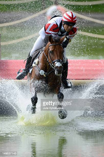 Takayuki Yumira of Japan riding Latina competes in the Cross Country phase of the Eventing competition on Day 3 of the 2012 London Olympics at...