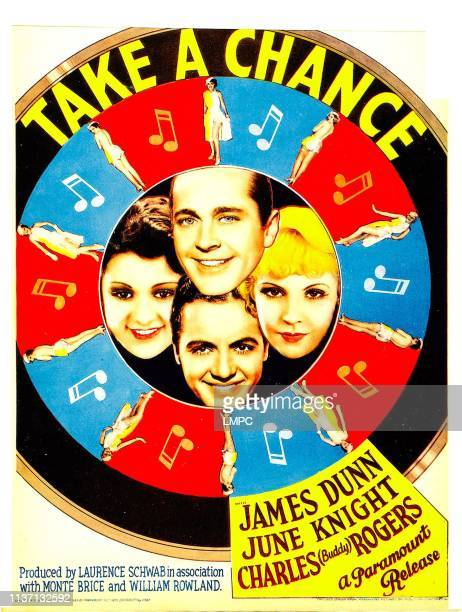 Take A Chance poster clockwise from top James Dunn June Knight Charles 'Buddy' Rogers Lillian Roth on midget window card 1933