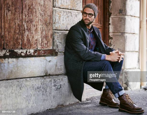 take a moment to enjoy the streets of the city - men fashion stock photos and pictures