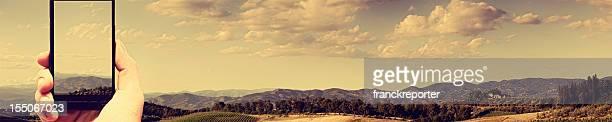 take a photo of Idyllic landscape hills Tuscany - Italy