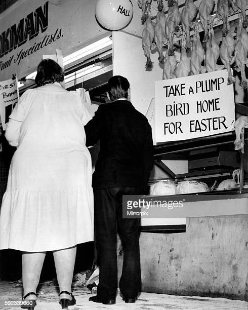 'Take a plump bird home for Easter' A man escorts a larger lady Easter parade one for the scrapbook Circa 1970
