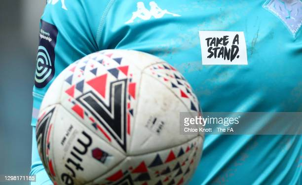 Take A Stand' badge is seen on the shirt of Alli Murphy of London City during the Barclays FA Women's Championship match between London City...