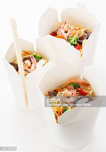 Take away Egg noodles with shiitake mushrooms, shrimp and pork