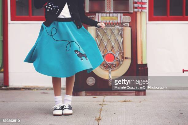 take back the 50's - blue skirt stock pictures, royalty-free photos & images
