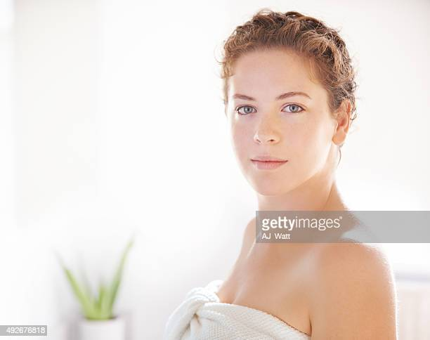 take care of your skin - wrapped in a towel stock pictures, royalty-free photos & images