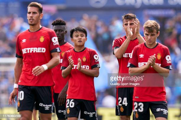 Take Kubo of RCD Mallorca salutes the fans during the La Liga match between Getafe CF and RCD Mallorca at Coliseum Alfonso Perez on September 22 2019...