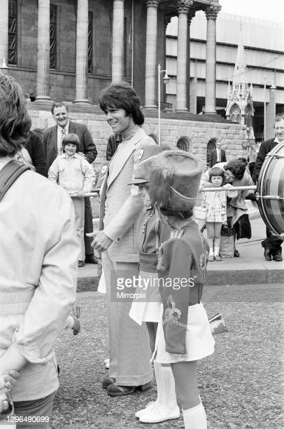 'Take Me High', filming procession scenes on the streets of Birmingham, Saturday 9th June 1973, starring Cliff Richard.
