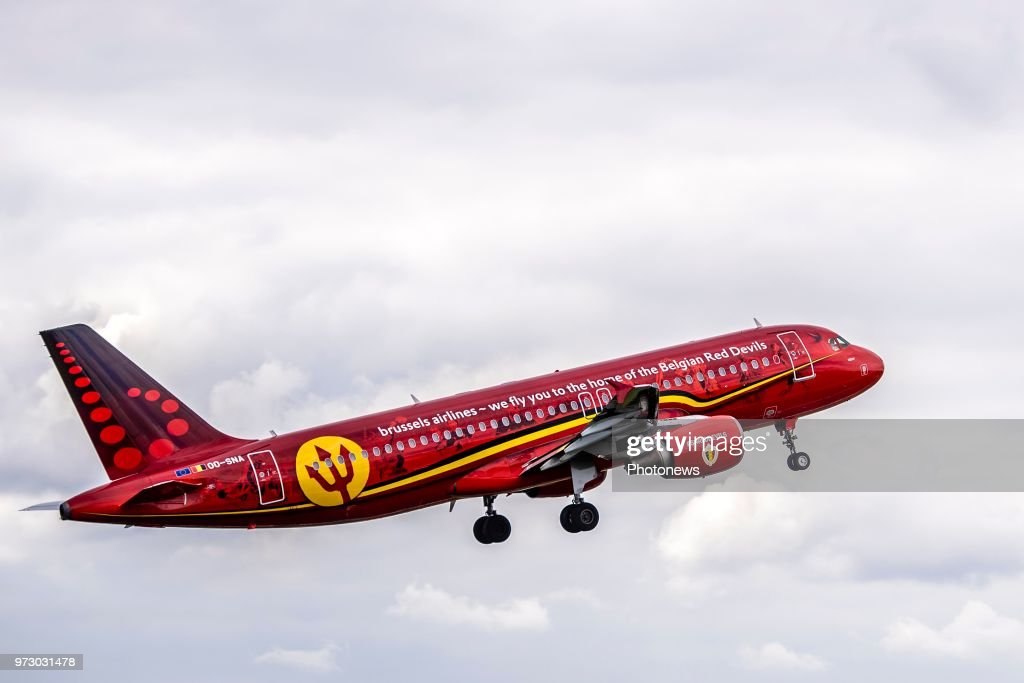 Take off of The Trident airplane during the departure of the National Football Team of Belgium to the FIFA 2018 World Cup Football in Russia at Zaventem Airport on June 13, 2018 in Brussels, Belgium,