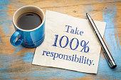 Take responsibility reminder note on napkin
