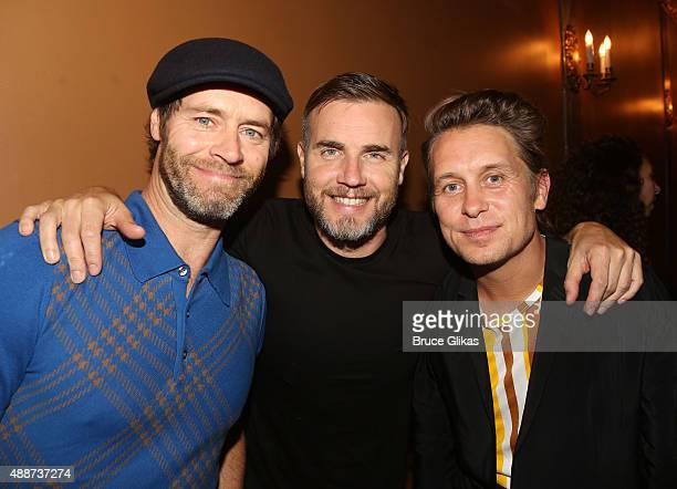 Take That band members Howard Donald Gary Barlow and Mark Owen attend the hit musical Finding Neverland on Broadway The LuntFontanne Theatre on...