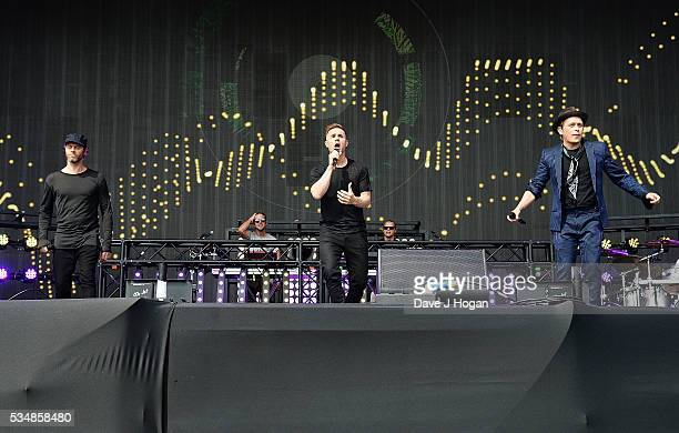 Take That perform as a guest appearance with Sigma during day 1 of BBC Radio 1's Big Weekend at Powderham Castle on May 28 2016 in Exeter England