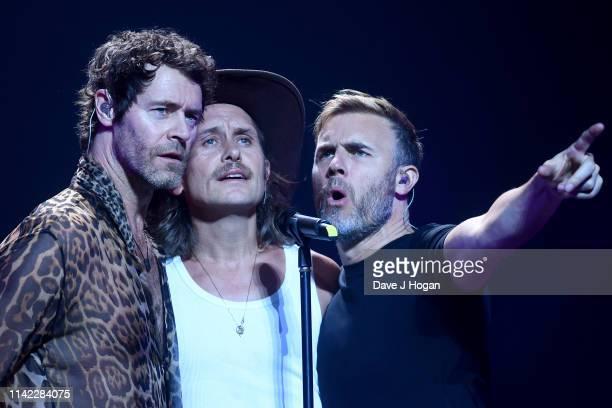 Take That perform during the dress rehearsal at the FlyDSA Arena at the FlyDSA Arena on April 11, 2019 in Sheffield, United Kingdom.
