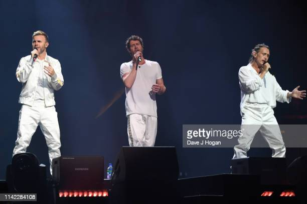 Take That perform during the dress rehearsal at the FlyDSA Arena on April 11, 2019 in Sheffield, United Kingdom.