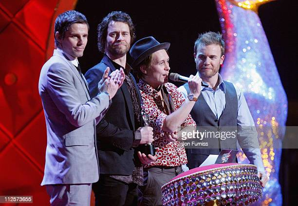 Take That receives the Best British Single for 'Shine' at the Brit Awards 2008 held at Earls Court on February 20 2008 in London England