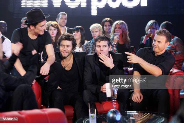 Take That's Mark Owen Howard Donald Jason Orange and Gary Barlow attend the MTV Europe Music Awards held at the Echo Arena on November 6 2008 in...