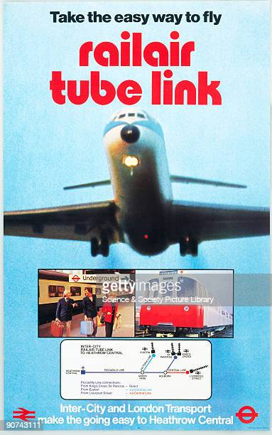 Take the easy way to fly Railair Tube Link' BR InterCity/London Transport poster 1977 Poster produced for British Rail InterCity and London Transport...