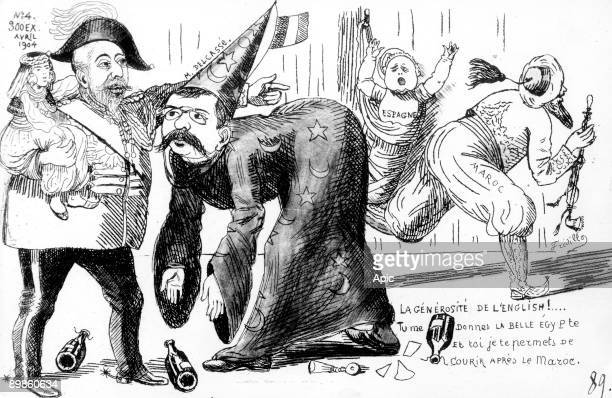 'I take the Egypt and I allow you to run after Morocco' cartoon of english king Edward VII and french politician Theophile Delcasse about the...