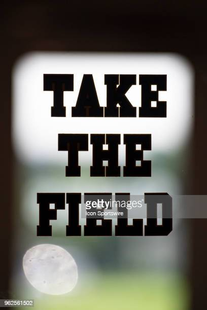 Take The Field is the saying on the door leading to the practice field during the Pittsburgh Steelers OTA on May 24 2018 at the Pittsburgh Steelers...