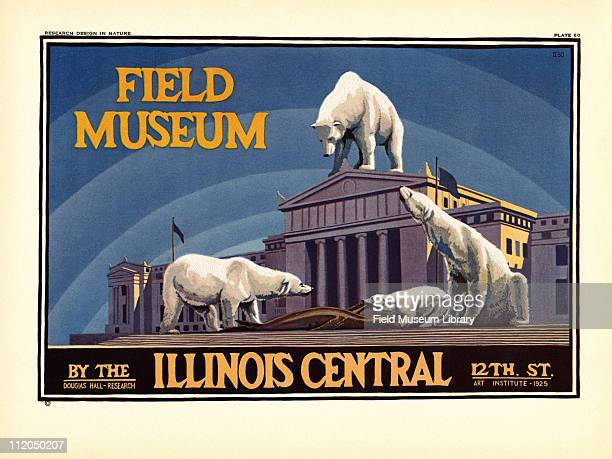 Take the Illinois Central to Field Museum color poster which includes Polar Bears devouring a seal on and around the Field Museum building mid 1920s
