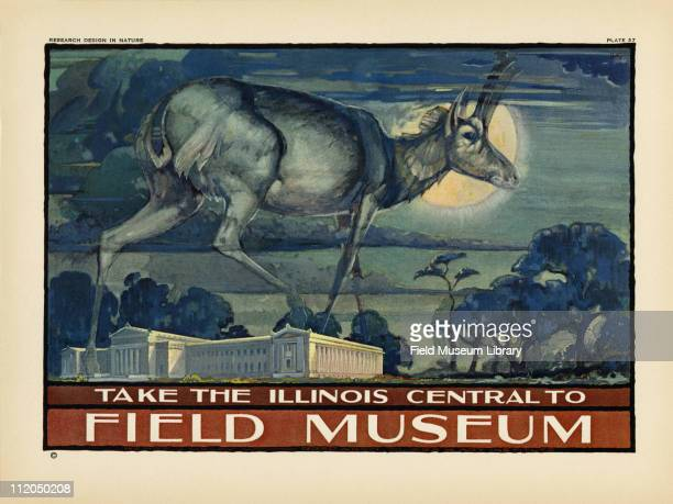 Take the Illinois Central to Field Museum color poster which includes a Prongbuck stepping over the Field Museum building mid 1920s