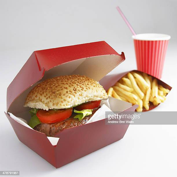 Takeaway burger, fries and soda