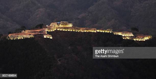 Takeda Castle Ruins are illuminated on December 19 2015 in Asago Hyogo Japan