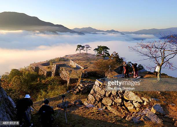 Takeda Castle Ruins are seen on the sea of cloud on November 4 2010 in Asago Hyogo Japan