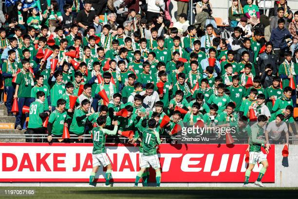 Takeda Hidetoshi of Aomori Yamada celebrates his first goal during the 98th All Japan High School Soccer Tournament second round match between Aomori...