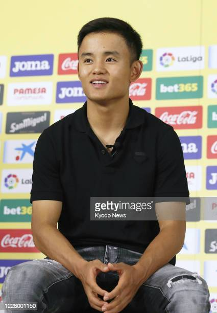 Takefusa Kubo a 19yearold Japanese winger attends a press conference in Villarreal Spain on Aug 11 as he joined Villarreal on a oneyear loan from...