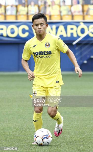 Takefusa Kubo a 19yearold Japanese winger dribbles the ball in Villarreal Spain on Aug 11 as he joined Villarreal on a seasonlong loan from Real...