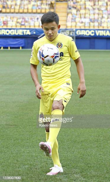 Takefusa Kubo a 19yearold Japanese winger juggles the ball in Villarreal Spain on Aug 11 as he joined Villarreal on a seasonlong loan from Real Madrid