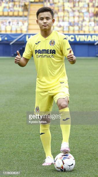 Takefusa Kubo a 19yearold Japanese winger poses for a photo in Villarreal Spain on Aug 11 as he joined Villarreal on a seasonlong loan from Real...