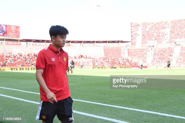 Takefusa Kubo of CD Mallorca before the Liga match between RCD Mallorca and Real Sociedad at Iberostar Estadi on August 25 2019 in Mallorca Spain