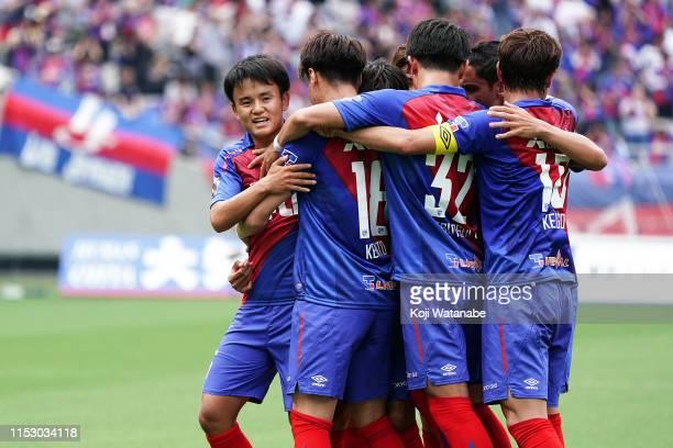 Takefusa Kubo of FC Tokyo celebrates scoring his team's first goal during the JLeague J1 match between FC Tokyo and Oita Trinita at Ajinomoto Stadium...
