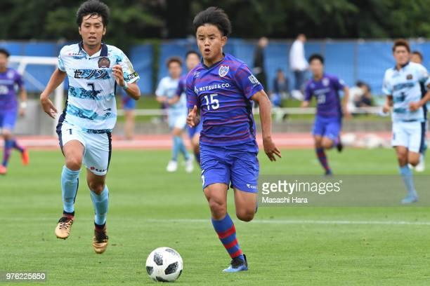 Takefusa Kubo of FC Tokyo in action during the J.League J3 match between FC Tokyo U-23 and FC Ryukyu at Yumenoshima Stadium on June 16, 2018 in...